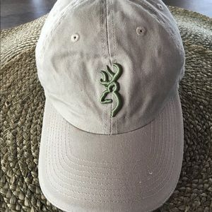 Browning Beige Baseball Cap with Green Logo